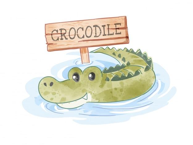 Crocodilo de desenho animado na lagoa com ilustração de sinal de madeira Vetor Premium
