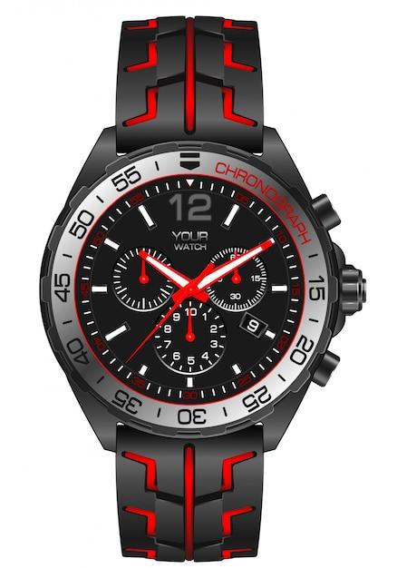 Cronógrafo de aço cinzento vermelho do relógio do relógio no branco. Vetor Premium