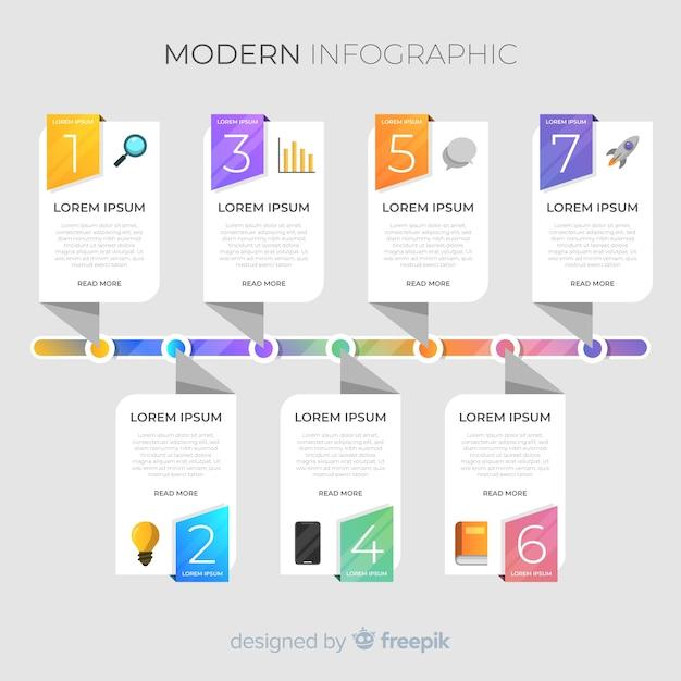 Cronograma colorido infográfico Vetor grátis