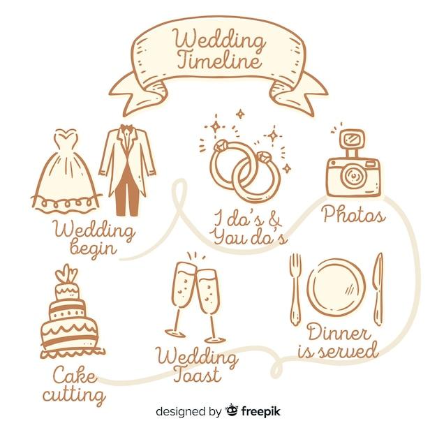 Cronograma de casamento bonito mão desenhada Vetor grátis