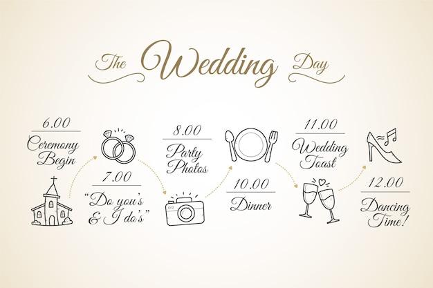 Cronograma de casamento desenhado à mão Vetor grátis