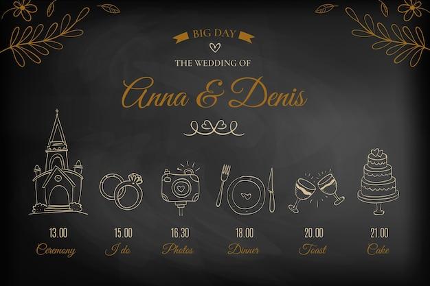 Cronograma de casamento elegante mão desenhada Vetor grátis