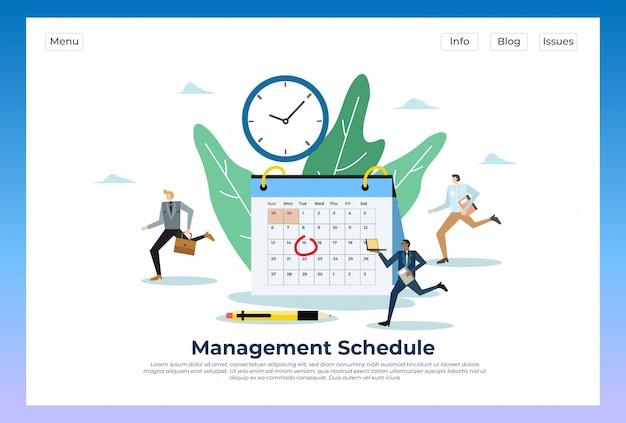 Cronograma de gestão. ilustração no modelo de site da página inicial do site Vetor Premium