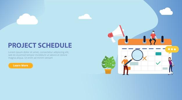 Cronograma do calendário do cronograma do projeto Vetor Premium