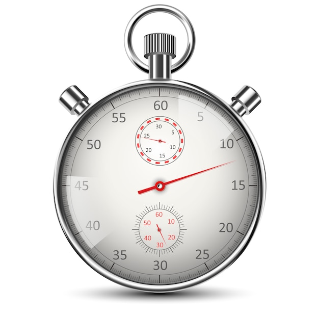 Cronômetro clássico realista isolado no branco Vetor Premium