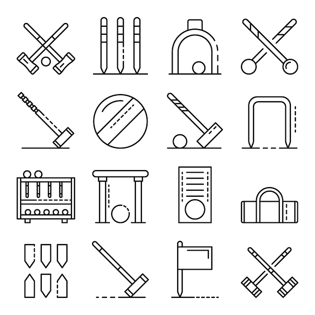 Croquet icons set, outline style Vetor Premium
