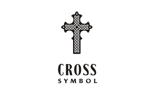 Cruz cristã com logotipo celtic knot Vetor Premium