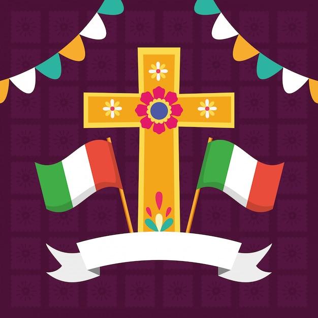 Cruz e bandeiras para viva mexico Vetor grátis