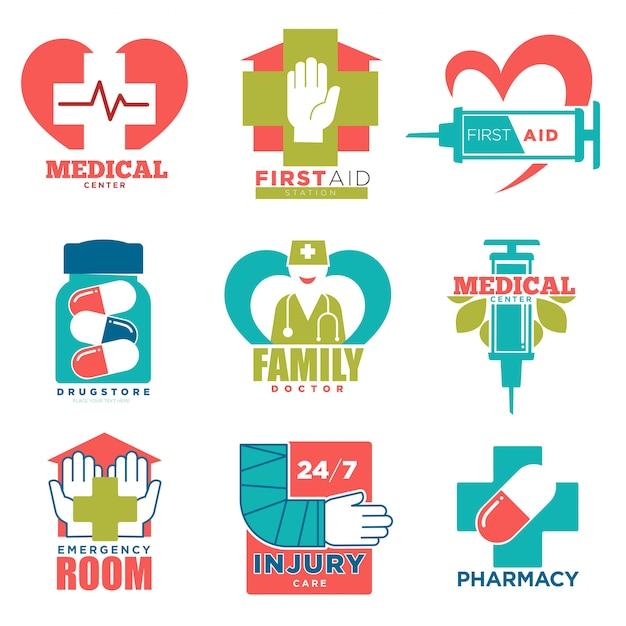 Cruz médica e ícones de vetor de coração para medicina de primeiros socorros ou médico hospital center Vetor Premium