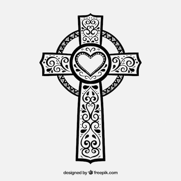 Cruz ornamental desenhada mão Vetor grátis