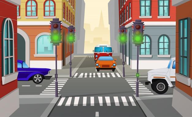 Cruzamento de cidade de ilustração dos desenhos animados com semáforos verdes e carros, interseção de estradas Vetor grátis