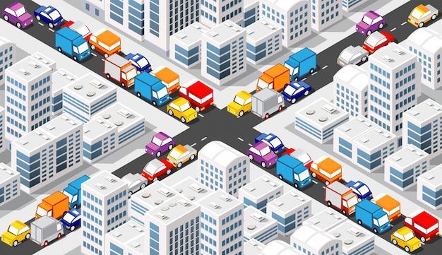 Cruzamento isometric crossroads Vetor Premium