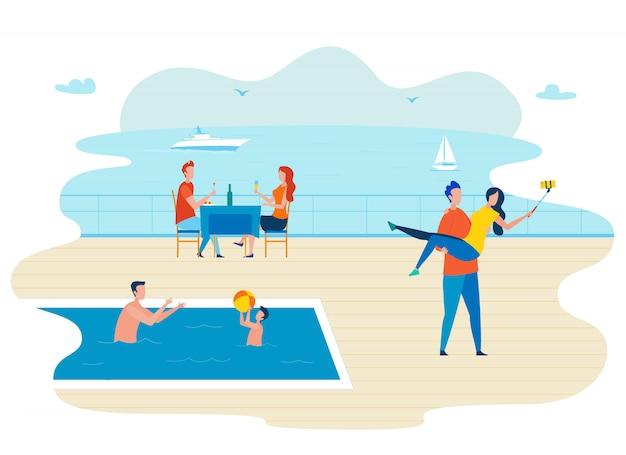 Cruzeiro de luxo viajando ilustração vetorial plana Vetor Premium