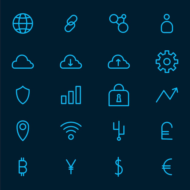 Cryptocurrency set vetor de símbolo de dinheiro eletrônico Vetor grátis