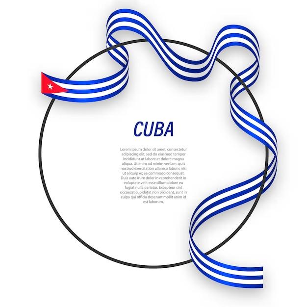 Cuba 3d com a bandeira nacional. Vetor Premium