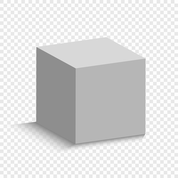 Cubo branco com uma perspectiva. modelo de caixa 3d com uma sombra Vetor Premium