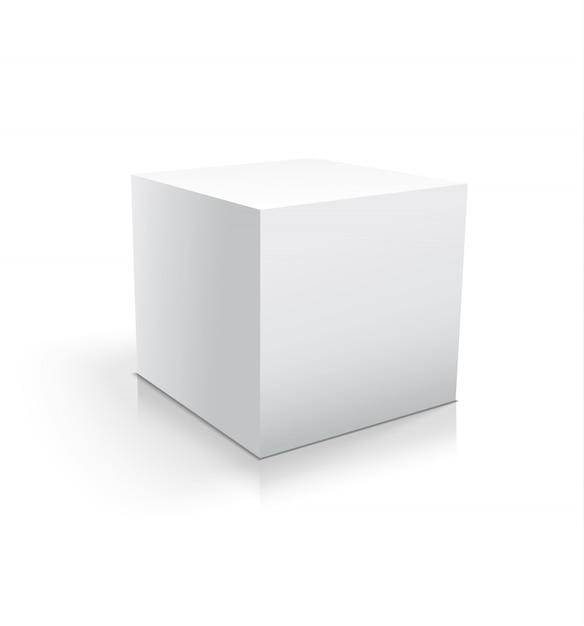Cubo branco realista ou caixa isolado Vetor Premium