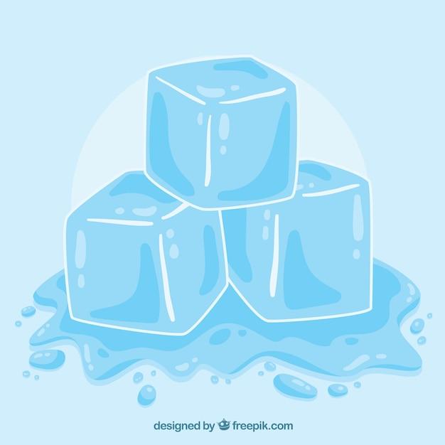 Cubo De Gelo Derretendo Com Estilo Mao Desenhada Vetor Gratis