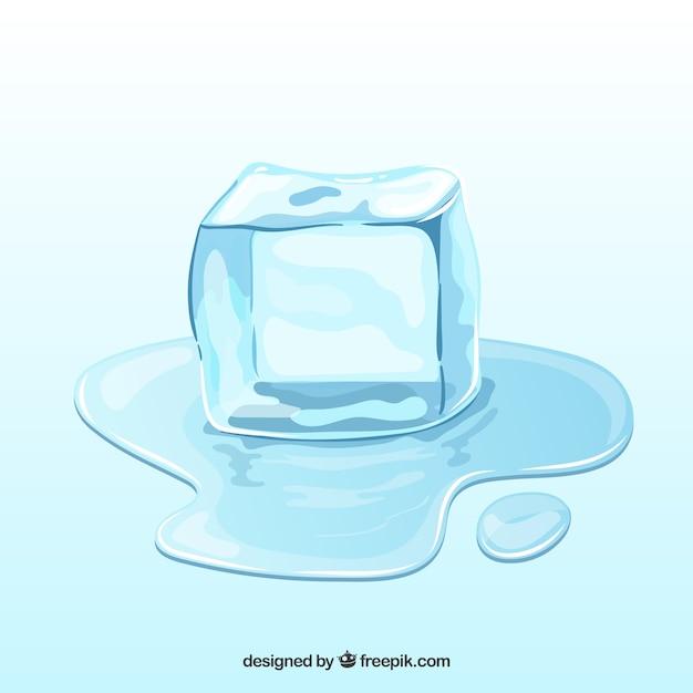 Cubo de gelo derretendo na mão desenhada estilo Vetor grátis