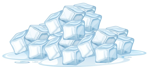 Cubo de gelo em fundo branco Vetor grátis
