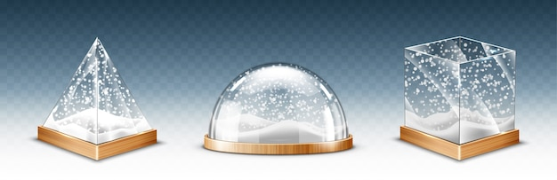 Cubo de vidro realista, pirâmide e cúpula com flocos de neve, lembranças de globo de neve de natal isoladas em transparente Vetor grátis