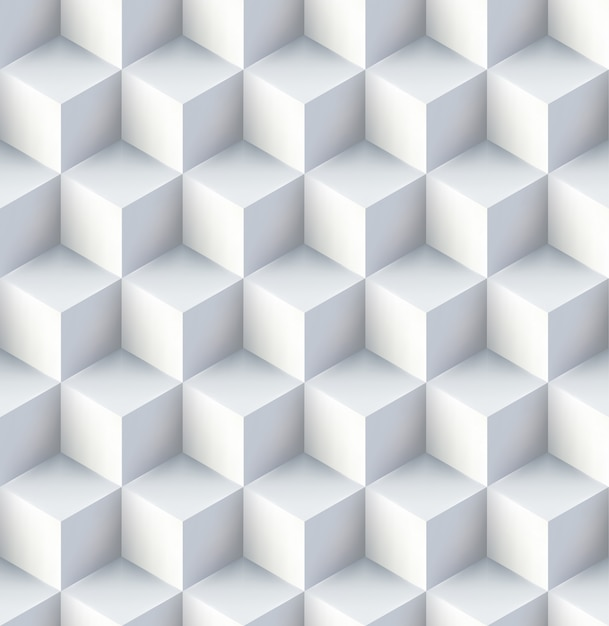 Cubos brancos seamless design pattern Vetor grátis