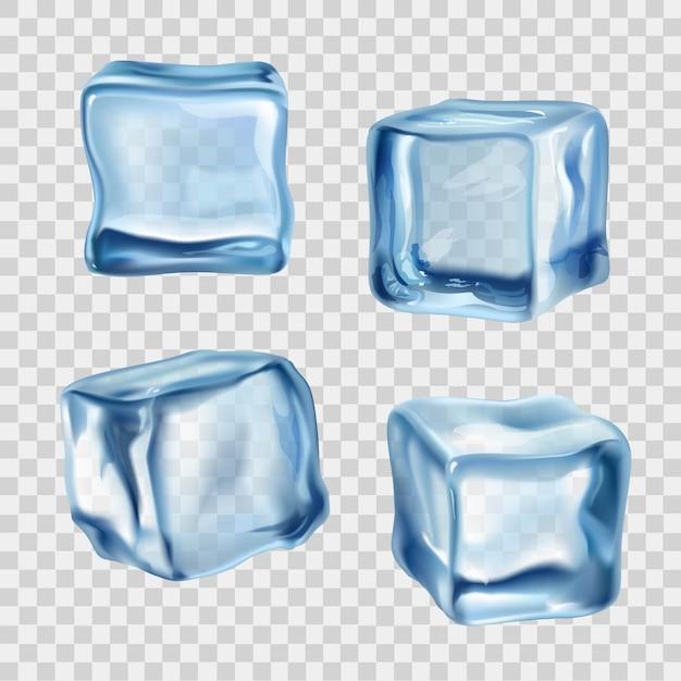 Cubos de gelo azul transparente Vetor grátis