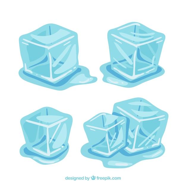 Cubos de gelo derretendo coleção Vetor grátis