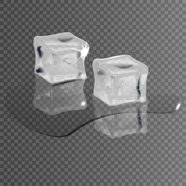 Cubos de gelo realistas em um fundo transparente, derretendo na água. Vetor Premium