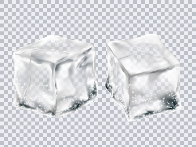 Cubos de gelo transparentes Vetor Premium