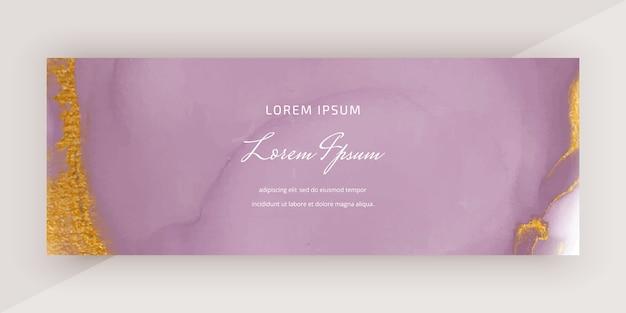 Cubra o banner de aquarela de tinta álcool com textura de glitter dourados. Vetor Premium