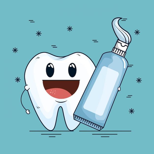 Cuidados com os dentes com a ferramenta de pasta de dente dental Vetor grátis