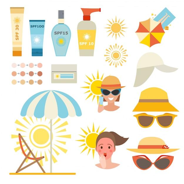 Cuidados creme de proteção da pele e loção de proteção de pele de beleza. Vetor Premium