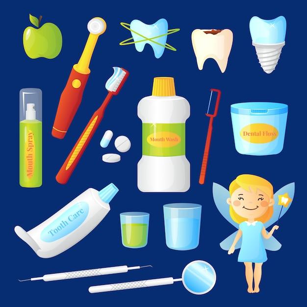 Cuidados de dentes conjunto com dentista e símbolos de saúde ilustração em vetor isoladas plana Vetor grátis