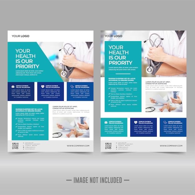 Cuidados de saúde corporativos e modelo de folheto médico Vetor Premium
