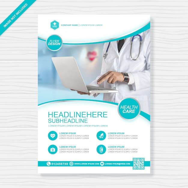 Cuidados de saúde e cobertura médica modelo de design a4 Vetor Premium