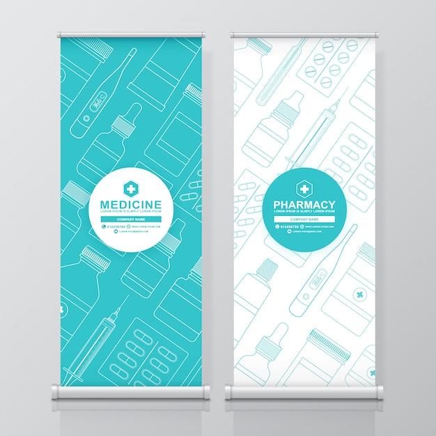 Cuidados de saúde e medical roll up e standee design Vetor Premium