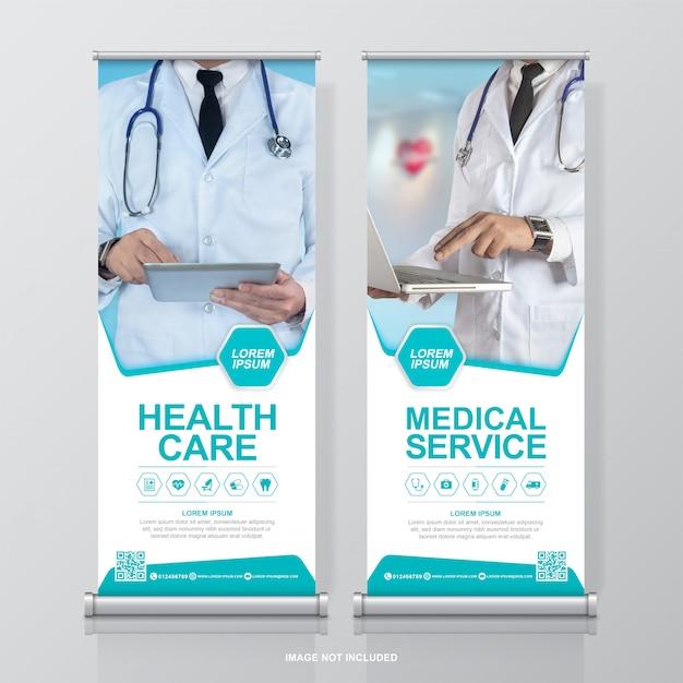 Cuidados de saúde e médicos arregaçar e standee banner design modelo decoração para exposição Vetor Premium