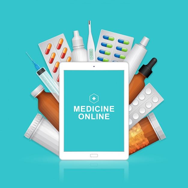 Cuidados de saúde e médicos on-line ipad com garrafas pílulas de conjunto Vetor Premium