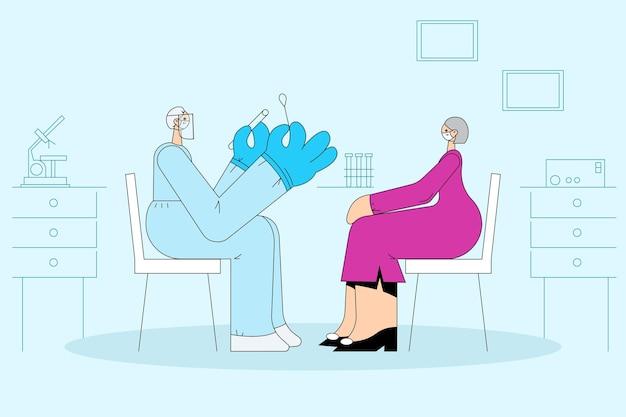 Cuidados de saúde e testes médicos durante o conceito de surto covid-19. enfermeira trabalhadora médica usando equipamento de proteção individual testando mulher idosa para coronavírus usando vara de teste Vetor Premium