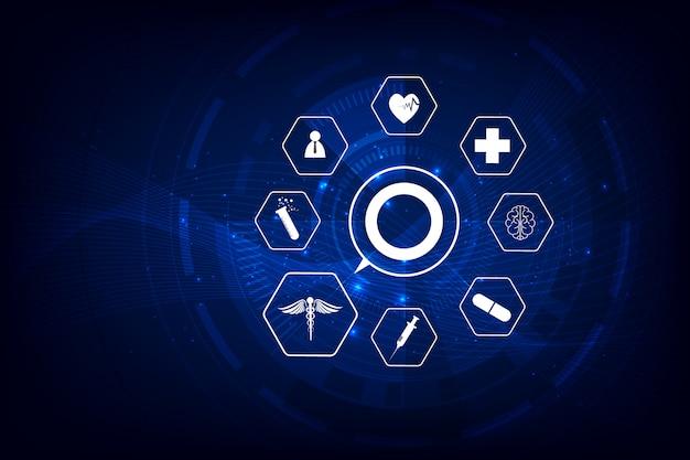 Cuidados de saúde ícone padrão inovação médica de fundo Vetor Premium