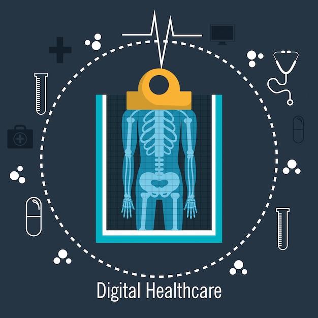Cuidados de saúde médicos digitais de raio x isolados Vetor Premium