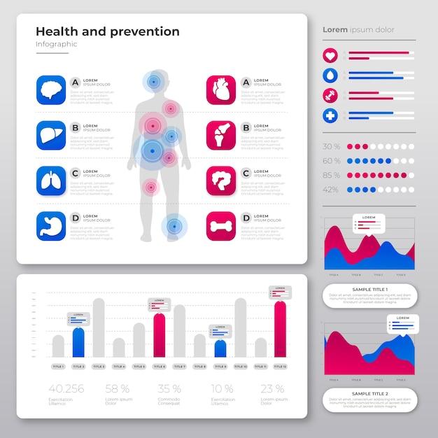 Cuidados de saúde médicos infográfico Vetor grátis