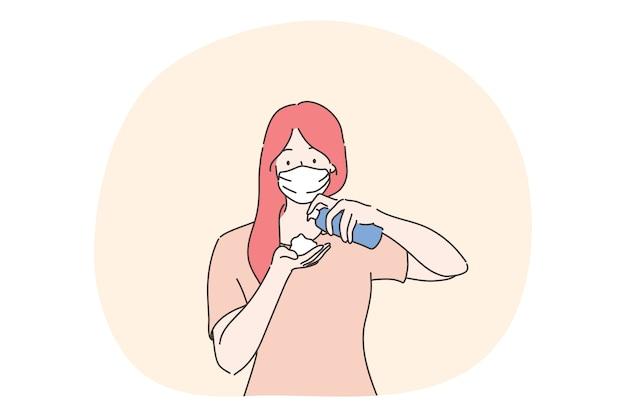 Cuidados de saúde, quarentena, proteção, conceito de coronavírus. jovem mulher com máscara facial médica, derramando anti-séptico nas mãos. medidas preventivas da doença covid19 e ilustração da infecção 2019ncov. Vetor Premium