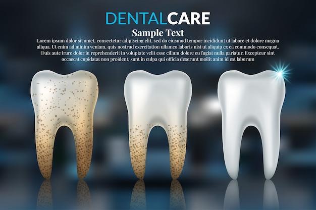 Cuidados dentários e dentes Vetor Premium