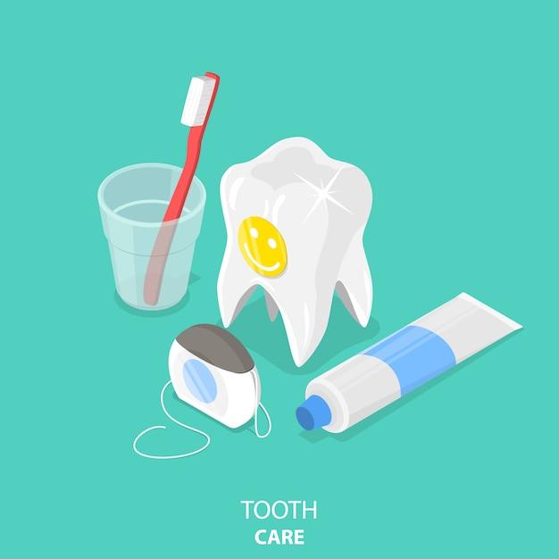 Cuidados dentários plano isométrico Vetor Premium