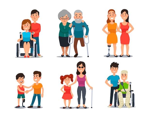 Cuidar de pessoa com deficiência Vetor Premium
