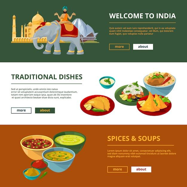 Culinária indiana e diferentes elementos tradicionais. banners horizontais com lugar para o seu texto Vetor Premium