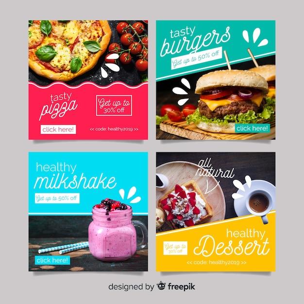 Culinária instagram post definido com foto Vetor grátis