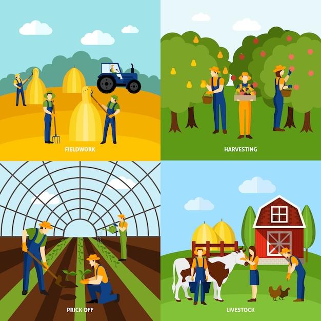 Cultivando 4 cartaz quadrado dos ícones lisos Vetor grátis